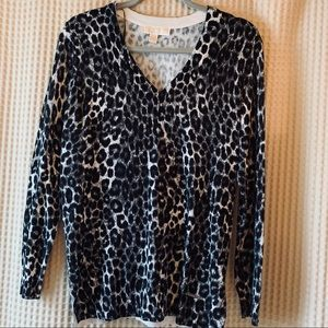 Michael Kors Leopard Cheetah V Neck Sweater NWOT